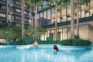 Treasure At Tampines swim-up spa and clubhouse